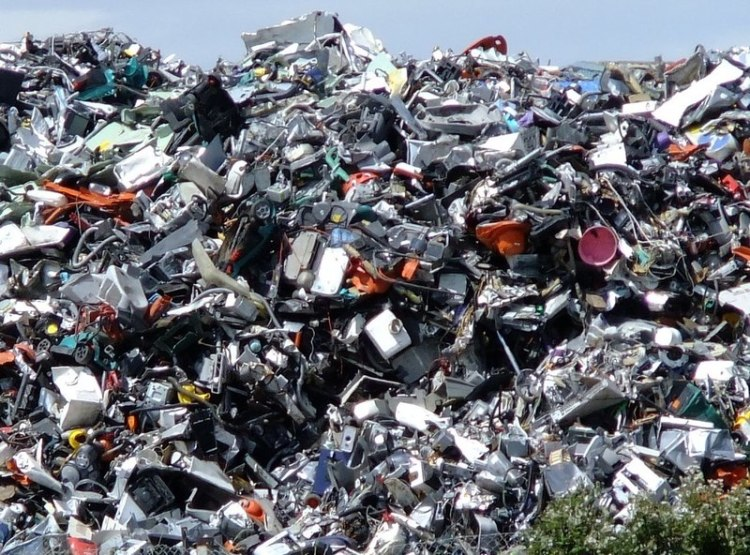 This amazing pile of English e-waste awaits recycling. Photograph by Stefan Czapski, courtesy Geograph. CC-BY-SA-2.0