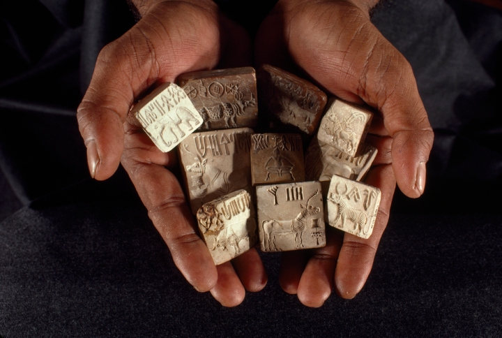 "The Indus Valley Civilization, sometimes called the Harappan Civilization, was ""as extraordinary as those of Mesopotamia and Egypt."" Its script, seen on these gorgeous seals, has yet to be deciphered. Photograph by James P. Blair, National Geographic"