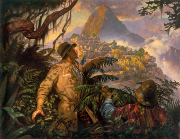Yeah … no. Even Hiram Bingham's actual expedition to Machu Picchu probably wasn't as cool as this romantic image. Illustration by Thomas Blackshear, National Geographic