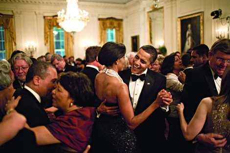 President Barack Obama and First Lady Michelle Obama dance at the Governors Ball at the White House in February 2009. Photograph by Pete Souza, National Geographic.