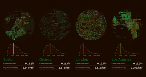 Treepedia explores the canopy of cities around the world. Image courtesy MIT Senseable City Lab
