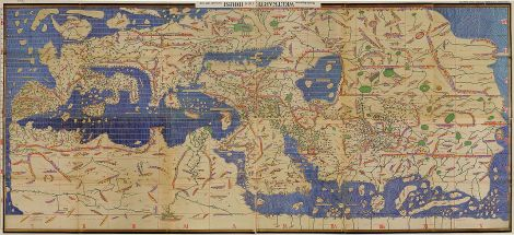 Muhammad al-Idrisi drew this spectacular world map for King Roger II of Sicily in 1154, during the Islamic Golden Age. (Yes, the map is upside-down, not because it's inaccurate but because it conforms with our standard way of seeing the world.) Map by Muhammad al-Idrisi, courtesy Wikimedia. Public domain