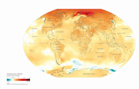 This classic Nat Geo map depicts climate change since 1960. Map by National Geographic