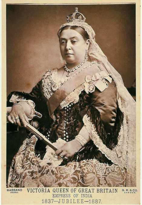 Queen Victoria celebrated her 50th year on the throne in unsmiling style. Photograph by Alexander Bassano, courtesy Wikimedia. Public domain