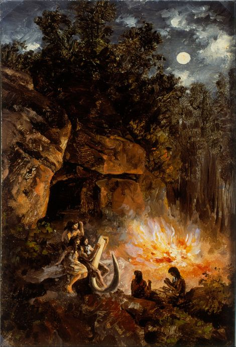 This is not an entirely inaccurate painting. The fire is near the cave mouth, and those fiery hominins are probably Homo sapiens, not Neanderthals. Painting by Jose Maria Velasco, courtesy Museo Nacional de Arte (Mexico) and Wikimedia. Public domain