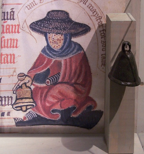 Medieval leprosy victims often carried bells to both alert people and invite charity. Photograph by Gianreali, courtesy Wikimedia. Public domain