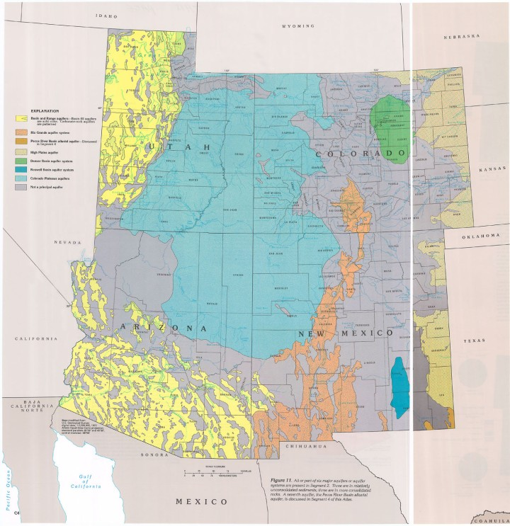 The feathery aquifers of Pinal County, Arizona, are part of the huge Basin and Range aquifers that stretch across the Great Basin from Idaho and Oregon and through Nevada and southeastern California. Map by the USGS