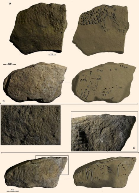"These prehistoric blocks feature polka-dot representations of mammoths (A and B) and a horse (C). Other pre-""Pointillist"" blocks feature aurochs and rhinoceroses. Image courtesy Randall White et. al, http://dx.doi.org/10.1016/j.quaint.2017.02.001 ""Newly discovered Aurignacian engraved blocks from Abri Cellier: History, context and dating"""