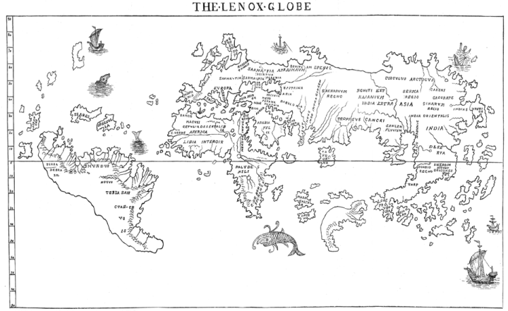 """The Hunt-Lenox Globe, built in 1510, is the only ancient cartographic device with the words """"hic sunt dracones""""—here be dragons. The language, transcribed here, is in the southeast corner of Asia, just where you'll find Komodo dragons. Map of the Hunt-Lenox Globe by B.F. De Costa. Public domain"""
