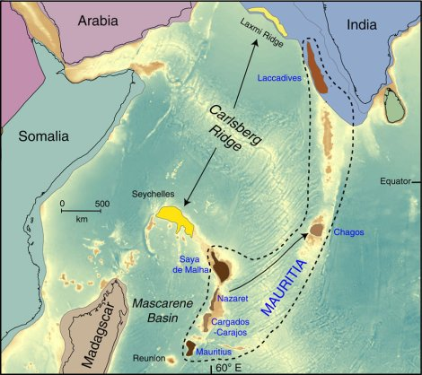 "The microcontinent of Mauritia stretched between the modern islands of Mauritius and southwestern India. Map by Lewis D. Ashwal, Michael Wiedenbeck & Trond H. Torsvik. ""Archaean zircons in Miocene oceanic hotspot rocks establish ancient continental crust beneath Mauritius."" Nature Communications 8. doi:10.1038/ncomms14086"