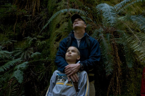A father and son appreciate California's redwoods. Photograph by Michael Nichols, National Geographic