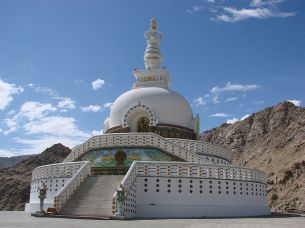 Stupas like this one in Leh, India, allegedly hold relics of the Buddha or Buddhist leaders at their bases. Photograph by Michael Goodine, courtesy Wikimedia. CC-BY-2.0
