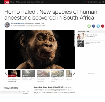 CNN coverage of the announcement of Homo naledi