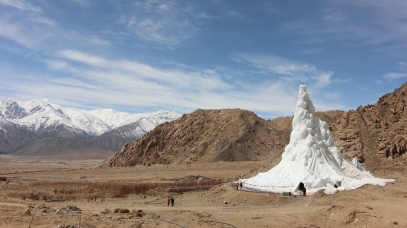 The first ice stupa was built in October 2013, and was expected to melt by the beginning of May. It lasted eighteen days longer. Screenshot courtesy BBC