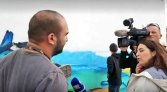 A Portuguese television channel covered the creation of a mural inspired by the Climate Action project. Photograph courtesy Koen Timmers