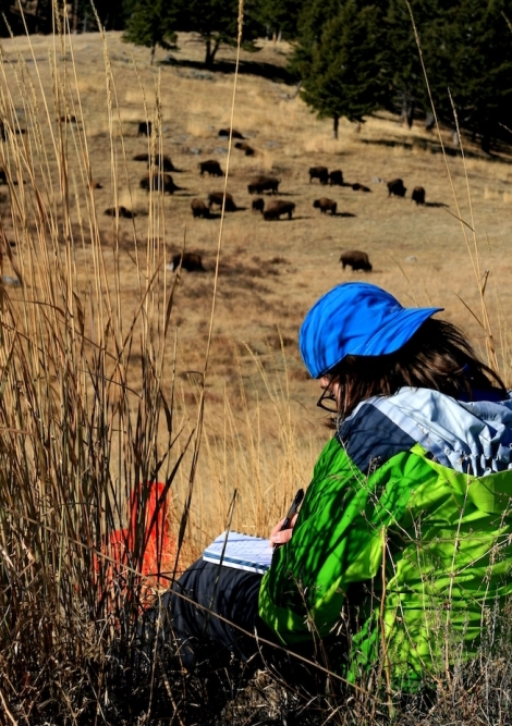 Student observing in Yellowstone_Jim Bishop