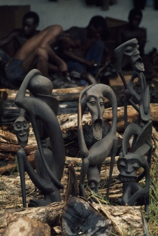 Exotic timber, like the ebony used to make these sculptures, is perhaps the most economically valuable part of wildlife trafficking. Photograph by Emory Kristof, National Geographic