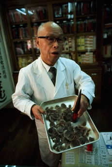 In the 1970s, Japan was the top destination for rhino horn products like these (at a Kyoto medical-supply store). In 1980, the government required all manufacturers of rhino horn medicine to find alternatives, and Japan is no longer a destination for trafficked horns. Photograph by Emory Kristof, National Geographic