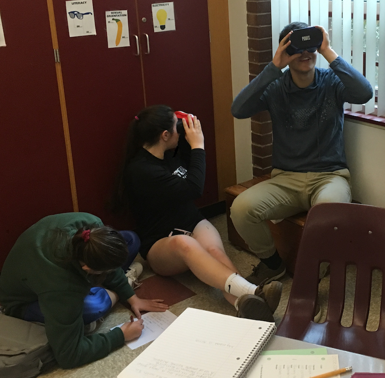 Students use VR headsets to watch 360-degree videos